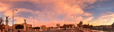 Sunset on the bridge... - An almost 300 degrees panorama, on Ponte Vittorio Emanuele II bridge over the river Tevere in Rome - Italy, in the golden hour of the day.  The moment is magical and the sky is painted with the warmest colors, to wellcome us to the eternal city...