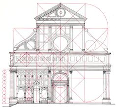 The geometrical proportions of the facade of the church of Santa Maria Novella by Leon Battista Alberti (mid Florence [building] Architecture Graphics, Architecture Drawings, Facade Architecture, Proportion Architecture, Geometry Architecture, Classic Architecture, Historical Architecture, Ancient Architecture, Santa Maria Novella