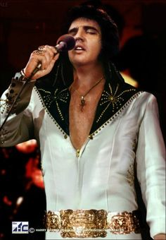 "Elvis - ""White Cisco Kid"" with black leather shoulders. 1971"