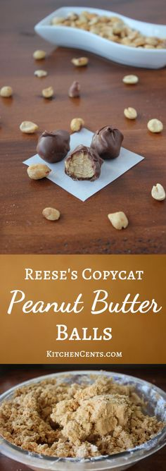 Reese's Copycat Peanut Butter Balls | KitchenCents.com Reese's Copycat Peanut Butter Balls are little morsels of sweet Reese's like peanut butter center covered in a thin chocolate-y coating.