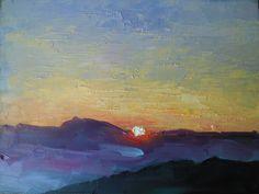 "Blue Ridge Sunset by Carol Schiff by Carol Schiff | $100 | 8""w x 6""h | Original Art | http://www.vangoart.co/buy/art/blue-ridge-sunset-by-carol-schiff @VangoArt"