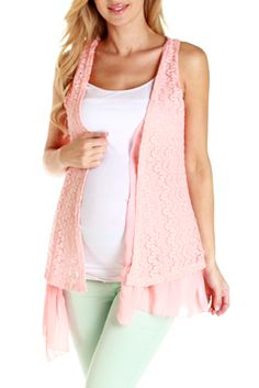 Coral Crochet Open Maternity Top