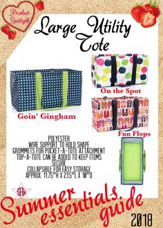 Graphic for VIP Facebook group or party. Large Utility Tote Summer essentials product spotlight. Thirty-One spring/summer 2018 www.mythirtyone.ca/sabrinawhite