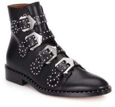 715dba656e5f Givenchy Studded Leather Buckled Ankle Boots Givenchy Studded Boots
