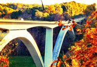 The beautiful Double Arch Bridge during the fall.