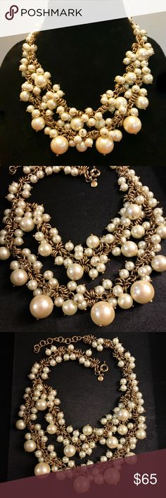 """NWOT J Crew Chunky Pearl Statement Necklace Brand New, never worn!!! Timeless and preppy, this brass and faux pearl statement necklace is so seriously useful in any wardrobe! It is double strand with a mix of pearl sizes. 19.25""""-22.25"""" (has extender chain) J. Crew Jewelry Necklaces"""