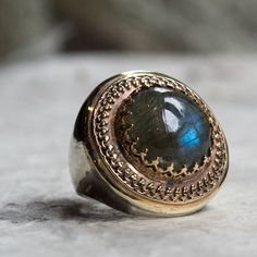 Boho ring, gypsy ring, hippie, Gemstone ring, labradorite ring, silver  gold ring, two tone ring, gold filigree ring - The King ring R1110EA