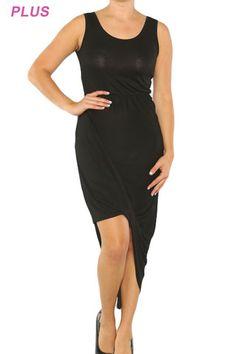 Asymmetric Plus Sized Jersey Dress $35.00