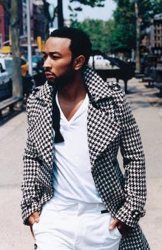 houndstooth overcoat. maybe.  if I was him.