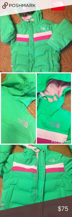Girls green North Face, Sz. Med ski jacket EUC Baby it's cold outside.  This jacket is toasty warm with full face, fuzzy lined hood.  The covered placket w/clean, intact Velcro ensures that no cold gets in.  Waterproof.  Slant, snap-closure & zippered pockets (glove hook NOT broken) means secure w/easy access.  Zippered breast pocket.  Earbud-ready.  No rips, tears or stains.  Some snagging from snowboard pants on inside ONLY-not visible from outside. Been in the snow <5 times.  Smoke-free…