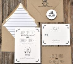 Black and White Rustic Wedding Invitations | Smitten On Paper. How easy would these be to make
