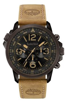Timberland  Campton  Multifunction Leather Strap Watch d8c8fd022e5