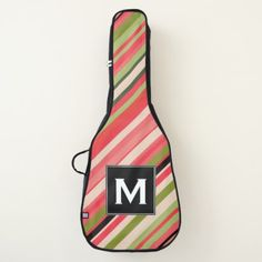 Custom Initial  Watermelon-Inspired Stripes Guitar Case - initial gift idea style unique special diy