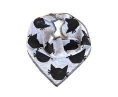 Right Meow Kitty Cat Upcycled Hand Printed Unisex Triangle Cowboy Bib Scarf - Baby Toddler Children Kids Dress Up