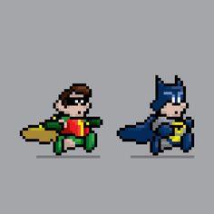 Batman and Robin Pixel Art