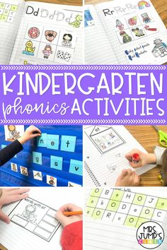 These fun kindergarten phonics activities can be used to practice letter sounds and word families all year round! Use them as literacy center activities, kindergarten worksheets, or in a phonics interactive notebook.