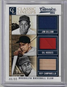 2014 Classic Lineups Jim Gilliam, Hodges & Roy Campanella Relic Card #48/99… Dodgers, Lineup, Trading Cards, Baseball Cards, The Originals, Classic, Ebay, Products
