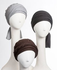 • ONE FLAT SHIPPING FEE, $2.50, NO MATTER HOW MANY JUST IN TIME ITEMS YOU PURCHASE IN ONE ORDER.  • A 100% cotton one-piece head wrap for cancer patients in chemotherapy or for women with alopecia. • This chemo head wrap is designed with details to flatter a woman with hair loss. Gathering is sewn around the top just above the attached ties to add body at the crown and to avoid the flat look. The long attached ties wrap around to frame the face and add additional body.  • The attached long…