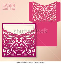 Die laser cut wedding card vector template. Invitation envelope. Wedding lace invitation mockup. Template for laser cutting. Die cut pocket envelope template. It can be used as an envelope for CD-ROM.