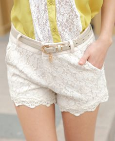 cream-colored lace overlay shorts
