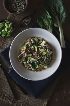 Soba Noodles with Bok Choy and Garlicky Miso-Tahini Sauce (Vegan) I foolproofliving.com