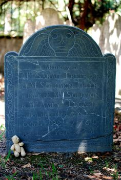 """Gravestone from Circular Congregation Church graveyard . . .150 Meeting Street . . . The skull with wings is an example of the Memento Mori (""""remember the dead"""" or """"remember your mortality"""") style that is ubiquitous in Charleston graveyards . . ."""