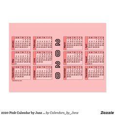 2020 Pink Calendar by Janz Chubby Business Card