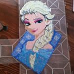 Complete! @pixelxpixel you were right. Friend 1 wanted it and now I have three or four more people that want her for their daughters and neices!  #elsa #frozen #perlerbeads #perler #hamabeads #hama #sprites #beadsprites