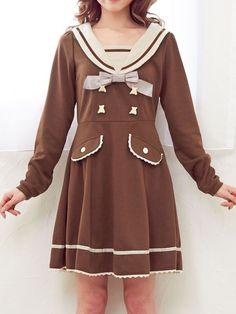 2015 herbst matrosenkragen adrette arten japan navy stil hohe taille dünnes langhülse einteiliges kleid traum meine liebe marke kleid