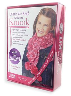 "Kids-Learn to Knit with the Knook Kit - This Learn to Knit with the Knook Kit will help beginners of all ages knit a scarf! With kid-friendly instructions, the specialized crochet hook replaces traditional knitting needles while a cord prevents dropped stitches. The kit includes a pocket-size instruction book (with photos for both right-handed and left-handed users), size L (8 mm) Knook (for bulky or super bulky weight yarns), 36"" cord with clip, practice yarn, over 100 yards of bulky yarn…"