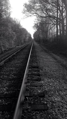 Walking back down the railroad to the park where the car was