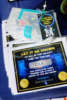These favor boxes and Jedi certificates are a fun addition to a kid's Star Wars themed Birthday Party, May the 4th Party, or Movie Watch Party! Get details and more Star Wars Party ideas now at fernandmaple.com!