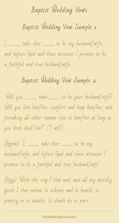 sample wording for a baptist wedding program ceremony traditions