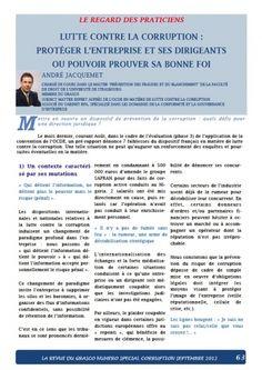 André JACQUEMET publie un article sur la corruption dans la revue du GRASCO Corruption, Prévention, Entreprise,  https://www.globalbpa.com/evenements/andre-jacquemet-publie-un-article-sur-la-corruption-dans-la-revue-du-grasco