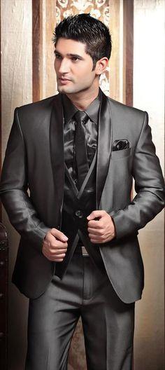HOT -- New Design Shawl Lapel Charcoal Gray Groom Tuxedos Men's Wedding Dress…
