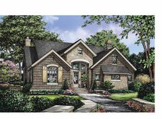 Cottage Style 1 story 3 bedrooms(s) House Plan with 1898 total square feet and 2 Full Bathroom(s) from Dream Home Source House Plans Cottage Floor Plans, Cottage House Plans, Country House Plans, Dream House Plans, House Floor Plans, Cottage Ideas, Country Living, Country Style, European Style Homes