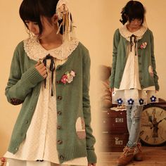 Green mori knit cardigan - floral elbow patches