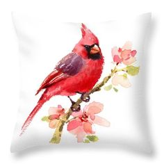 Watercolor Throw Pillow featuring the painting Northern Cardinal by Maria Stezhko