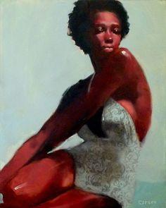 """Floral Suit"" by Minneapolis artist Michael Carson #art #artwork #painting #oilpainting #oiloncanvas #figurativeart #femaleportrait #posed #bathingsuit #swimsuit #legsbent #armscrossed #confident #sexy #blackwoman #brownskin #beautiful #sitting #faceforward #naturalwoman #naturalhair #curlyhair #fro #fulllips #minnesota #minneapolisartist #michaelcarson #floral #suit"