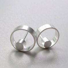 Faunia Earrings - Modern Silver Circle Studs, Contemporary Jewelry by WROXdesign