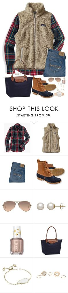 """4 days until Christmas!!!"" by southernstruttin ❤️ liked on Polyvore featuring J.Crew, Patagonia, Abercrombie & Fitch, L.L.Bean, Ray-Ban, Honora, Essie, Longchamp, Kendra Scott and GUESS"