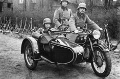 "A beautiful mid-1930s production model of the BMW motorcycle with the in-line Boxer engine in service with German police (?) forces. A machine gun is mounted on the sidecar adding some ""macho"" quality to a bike that could run forever with little maintenance. Postwar, this model became the R51 of the 1950s, another big marketing success for BMW."