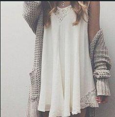 lace dress + knit cardigan