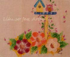 Pintura em tecido com patchColagem http://inovartartesanatosemeva.blogspot.com.br/2014/04/pano-de-prato-flores-e-corujinha-patch.html