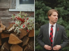 red and white winter wedding flowers - baby breath and berries - simple statement