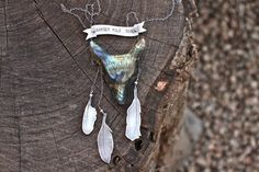 Wander WILD Soul. Sterling silver and labradorite wold head feather necklace by Ashley Weber