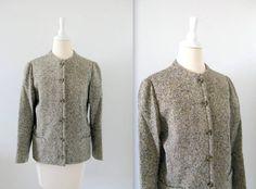 Vintage Tweed Blazer  1970s Donegal Wool  Medium Large by TwoMoxie, $45.00