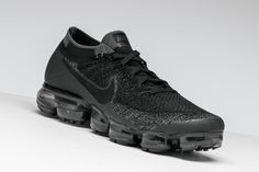 """Nike outfits the groundbreaking Air VaporMax model in a mean """"Triple Black"""" colorway."""
