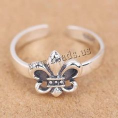 Thailand Sterling Silver Cuff Finger Ring Fleur-de-lis open US Ring . Sterling Silver Cuff, Silver Rings, Semi Precious Beads, Ring Finger, Lampwork Beads, Wholesale Jewelry, Gemstone Beads, Beaded Jewelry, Glass Beads