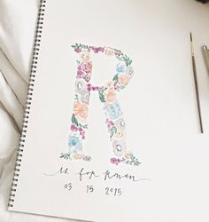 Custom Initials - watercolored initial with floral painting